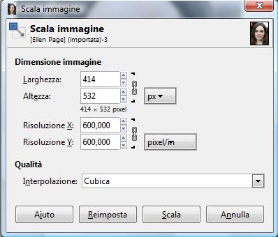 GIMP Scala immagine